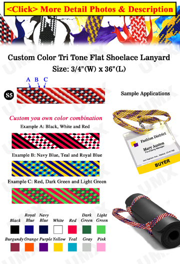 "3/4"" Tri Tone USA Flag Pattern Custom Color Lanyards"