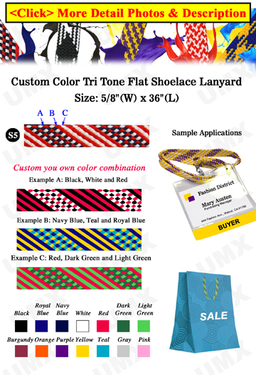 "5/8"" Tri Tone Shoe String Custom Lanyards: USA Flag Style"