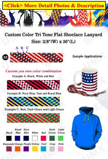 "3/8"" 3 Color Shoelace Custom Woven Lanyards"