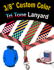 "3/8"" 3 Color Shoelace Custom Woven Lanyards: USA Flag Style LY-S5-38-CUSTOM/Per-Piece"
