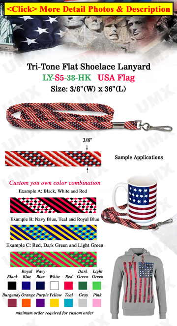 "3/8"" USA Flag Stripe Lanyard With Swivel Hook"