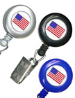 American Flag Retractable ID Badge Holders With ID Badge Clips RT-02-USA-FLAG/Per-Piece