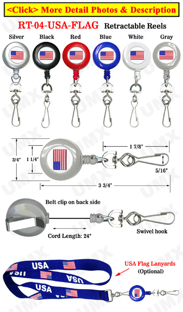 Patriotic Retractable Badge Reels Swivel Hooks