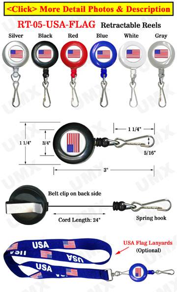 USA Flag Retractable ID Card Holders With Spring Hooks
