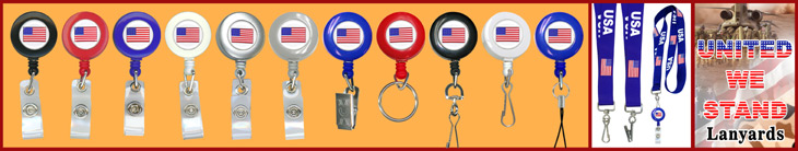American Flag Badge Reels- Patriotic Retractable Badge Holders