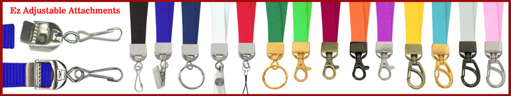 Ez-Adjustable Heavy Duty Plain Color and Custom Printed Lanyards