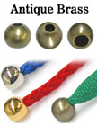 "1/8""(D) Antique Brass Round Cord Ends: with 1/8""(D, Top Hole) x 3/16""(D, Bottom Hole) BD-417/Per-Piece"