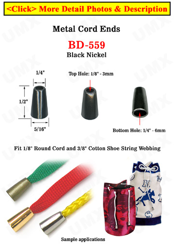 "1/8""(D) Black Nickel Cord End Pulls: Long Cone Shaped : with 1/8""(D, Top Hole) x 1/4""(D, Bottom Hole)"