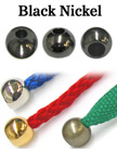 "1/8""(D) Black Nickel Finish Steel Iron Cord Ends: with 1/8""(D, Top Hole) x 3/16""(D, Bottom Hole) BD-418/Per-Piece"