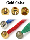 "1/8""(D) Gold Finish Metal Cord Ends: Round Beads with 1/8""(D, Top Hole) x 3/16""(D, Bottom Hole)"