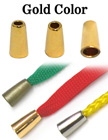 "1/8""(D) Round Cone Shaped Gold Finish Metal Cord Ends: with 1/8""(D, Top Hole) x 1/4""(D, Bottom Hole)"