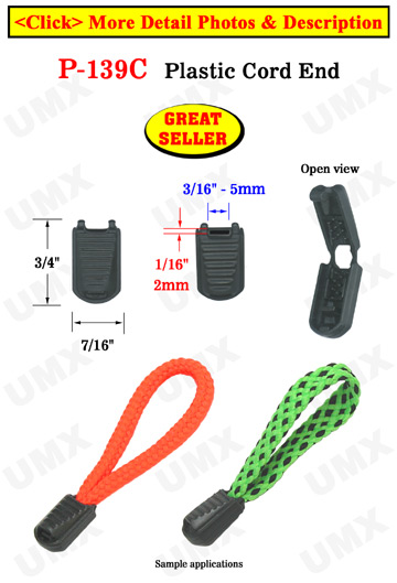 "Long Profile Rectangle Plastic Zipper Pulls: Cord End Closure with 3/16""(W) x 1/16""(H) Hole"