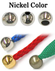 "1/8""(D) Nickel Finish Metal Steel Cord Ends: with 1/8""(D, Top Hole) x 3/16""(D, Bottom Hole) BD-91/Per-Piece"