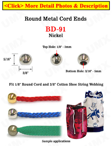 "1/8""(D) Nickel Finish Metal Steel Cord Ends: with 1/8""(D, Top Hole) x 3/16""(D, Bottom Hole)"