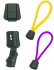 "Short Profile Rectangle Plastic Cord End Closure with Clips: Zipper Pulls with 1/4""(W) x 1/8""(H) Hole"