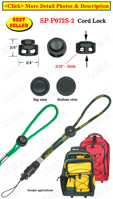Small Sample Order: Cordlocks: Small Size, Low Profile Cylinder Shape - Two-Holes