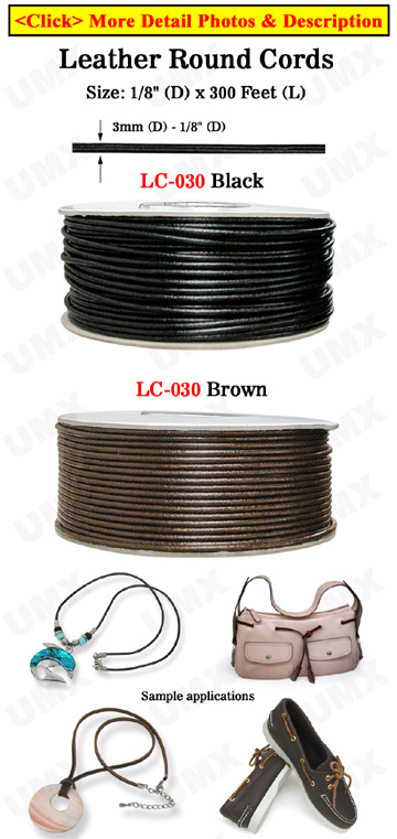 "Sample Order: Thick Leather Round Cords:  Leather Strings: By The  Foot - 1/8"" (D)"