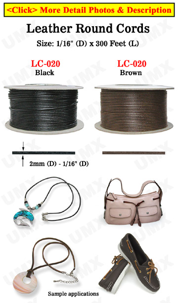 "Sample Order: Thin Leather Round Cords: Custom Length By The Foot - 1/16""(D)"