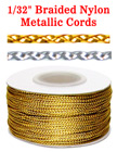 "Small Sample Order: Braided Nylon & Metallic Cords: By The Foot - 1/32"" (D) CD-007-Metallic-Color/Per-Foot"