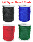 "Nylon Cords: Small Sample Order By The Foot - 1/8"" (D) Nylon Round Cords"