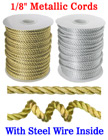 "Steel Metal Wired Nylon Cords: By The Spool (Roll) / 150 ft - 1/8"" (D)"