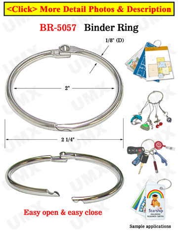 "2"" Big Binder Rings: Metal Round Ring Binders - Split-Rings"