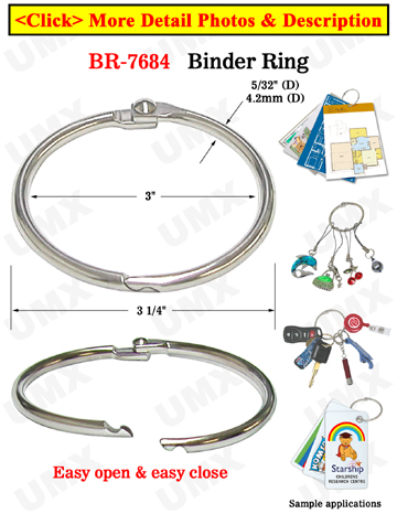 "3"" Extra Large Binder Rings / Book Binder / Loose Leaf Rings"