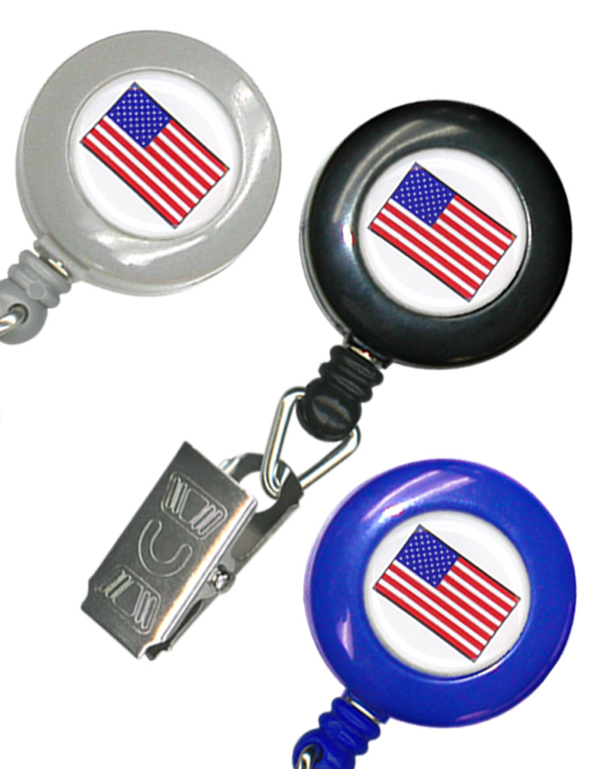American Flag Retractable Badge Reel (Badge Clip Attachment) RT-02-USA-FLAG