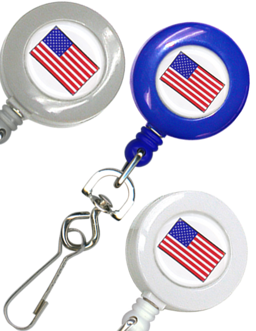 American Flag Retractable Badge Reel (Swivel Hook Attachment) RT-04-USA-FLAG