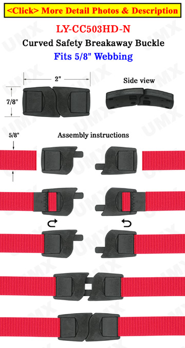 Plastic Breakaway Neck Lanyard Buckles: Flat & Curved Safety Neck Strap Buckles - 5/8""
