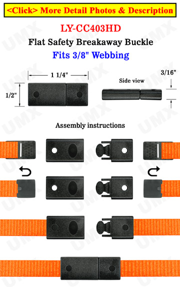 Plastic Safety Buckles: Small Flat & Straight Breakaway Buckles - 3/8""