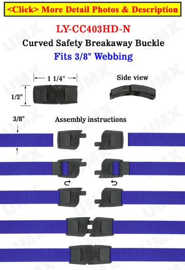 Plastic Breakaway Buckles: Small Flat & Curved Safety Neck Strap Buckles - 3/8""