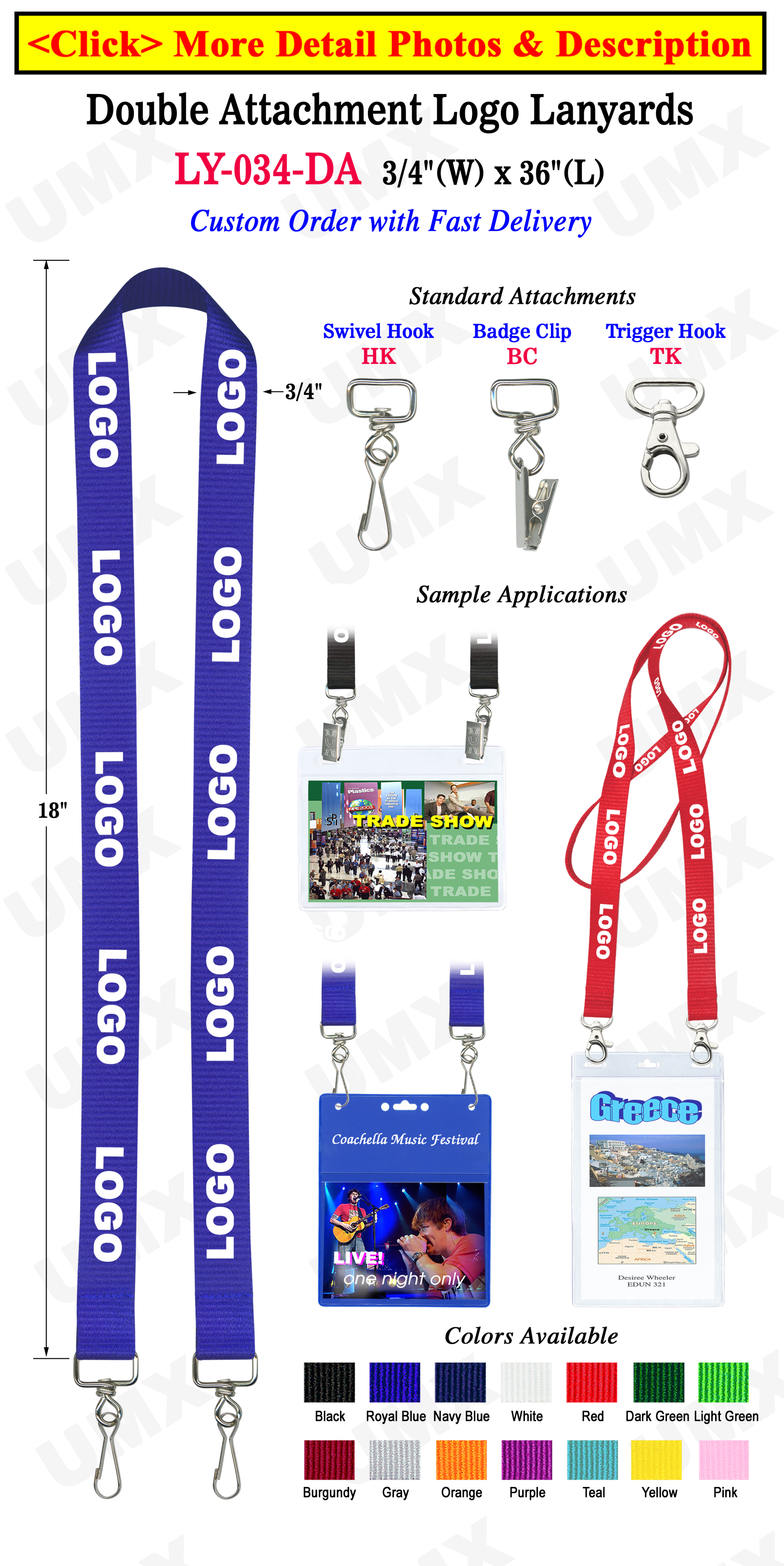 "3/4"" Trade Show Custom Printed Lanyards For Badges  with Two Clip Holes LY-034-DA/Per-Piece"