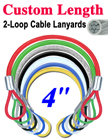"4"" Color Coated Cable Lanyards With Two Loop-Ends"