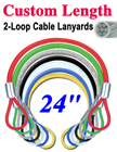 "24"" Stainless Steel Cable Lanyards: Custom Bulk Order LY-2LE-W02P-24/Per-Piece"