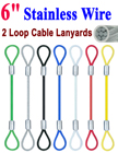 "6"" Two-Loop: Stainless Steel Cable Lanyards: With Colored Vinyl Protection"