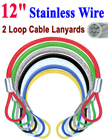"12"" Two-Loop: Stainless Rope Cord Cable Lanyards / Leashes LY-2LE-W02P-12/Per-Piece"