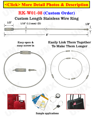 "8"" Custom Lenght Steel Wire Key Ring"