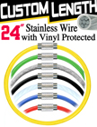 "24"" Vinyl Coated Tether Cable with Safety Protection RK-W02P-24/Per-Piece"