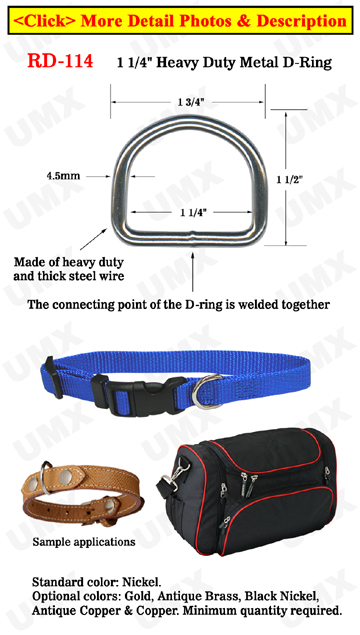 "1 1/4"" Pet Collar D-Rings : For Pets, Dogs,  Backpack, Bags, Belts & Straps Making Hardware"