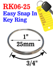 "1"", 25mm Popular Size Easy Open Metal Steel Key Rings RK-06-25/Per-Piece"