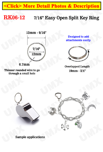 "rk06-12, 7/8"", 21mm Easy Split Key Rings: Designed To Add Attachment Easily"