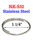"1 1/4"" Stainless Split Keyring: Made of Anti-Rust Stailess Steel Metal"