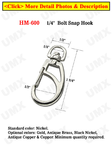 "1/4"" Small Swivel Eye Frame Bolt Snaps For Round Cords"