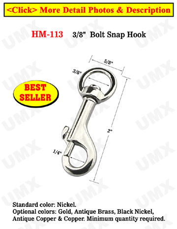 "3/8"" Circular head Swivel Bolt Snaps: For Round Cords and Flat Straps"