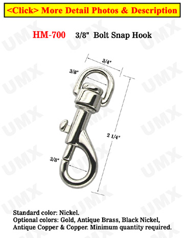 "3/8"" Semi-Round Eye Swivel Bolt Snaps: For Round Cords and Flat Straps"