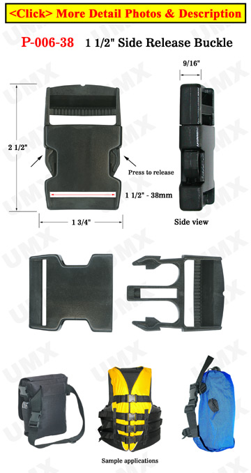 "1 1/2"" Big Plastic Side Release Buckles: Flat Straps"