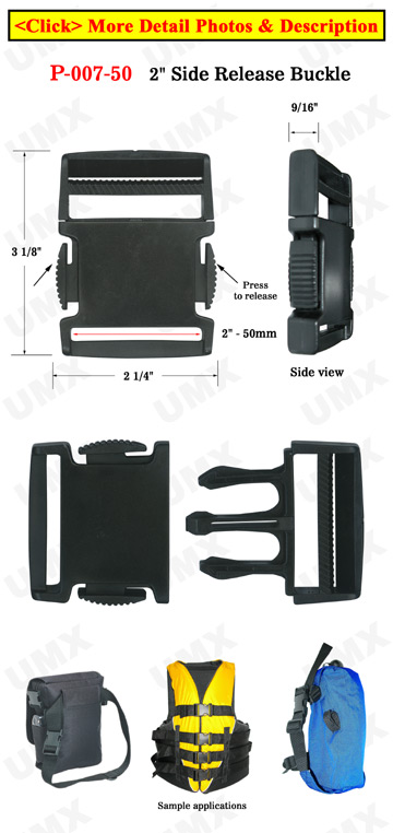 "2"" Heavy Duty Plastic Buckles with Side Release Latch"