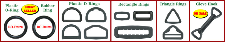 Plastic Rings:  Plastic O-Rings, Plastic D-Rings, Plastic Triangle-Rings, Plastic Square-Rings and Plastic Hexagon-Rings