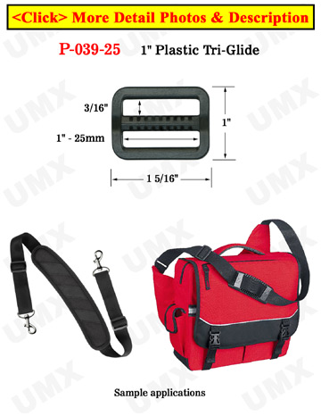 "1"" Heavy Duty Plastic Tri-Glides: Strap Length Adjusters"
